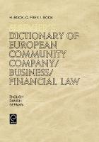 Jacket image for Elsevier's Dictionary of European Community Company/Business/Financial Law