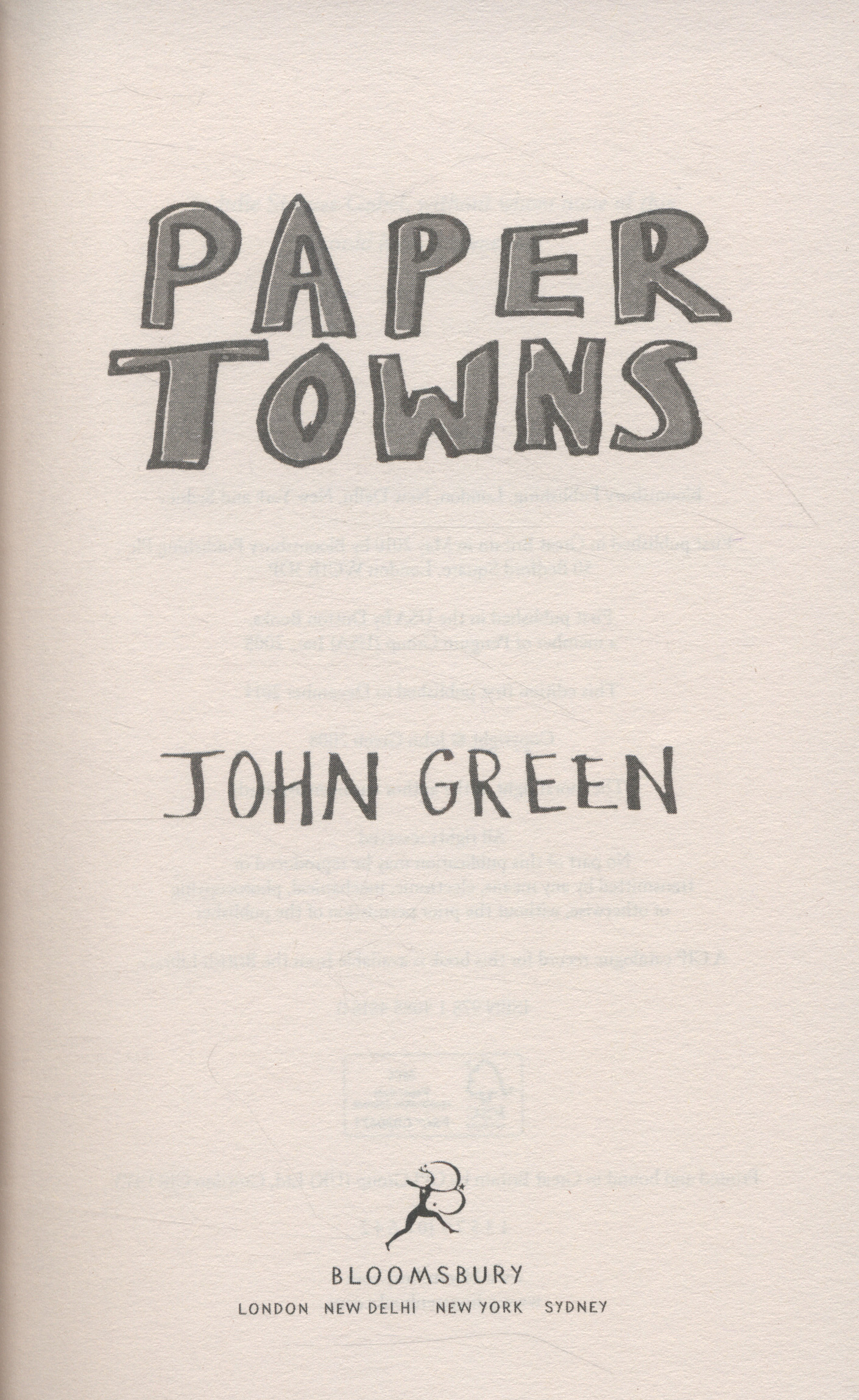 Paper towns book pdf