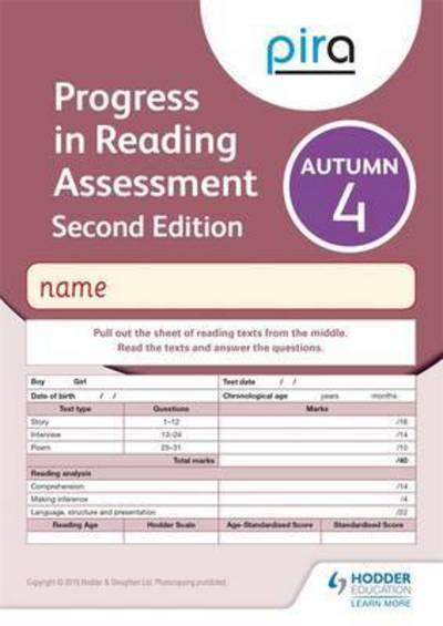 Jacket Image For: PiRA Test 4, Autumn Pack 10 - 2ED (Progress in Reading Assessment)