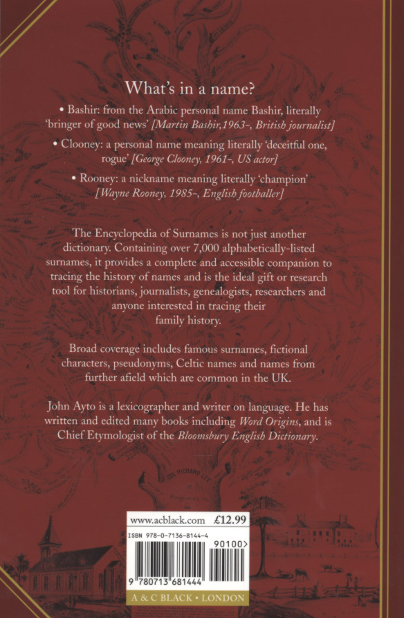 Encyclopedia of surnames by Ayto, John (9780713681444