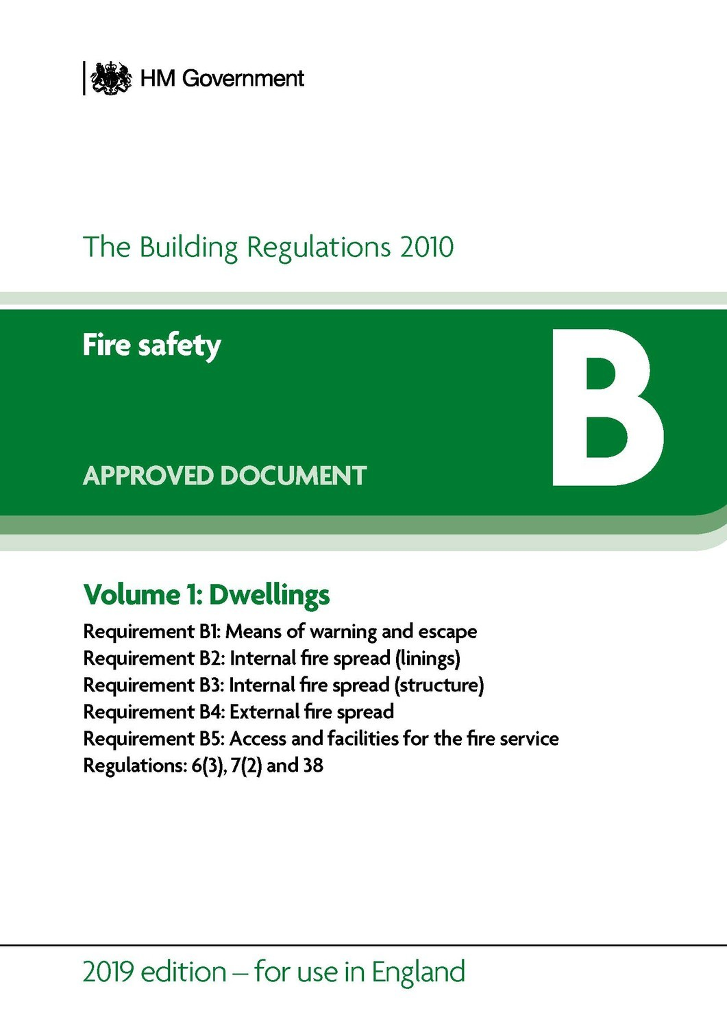 Image for Approved document BVolume 1,: Fire safety