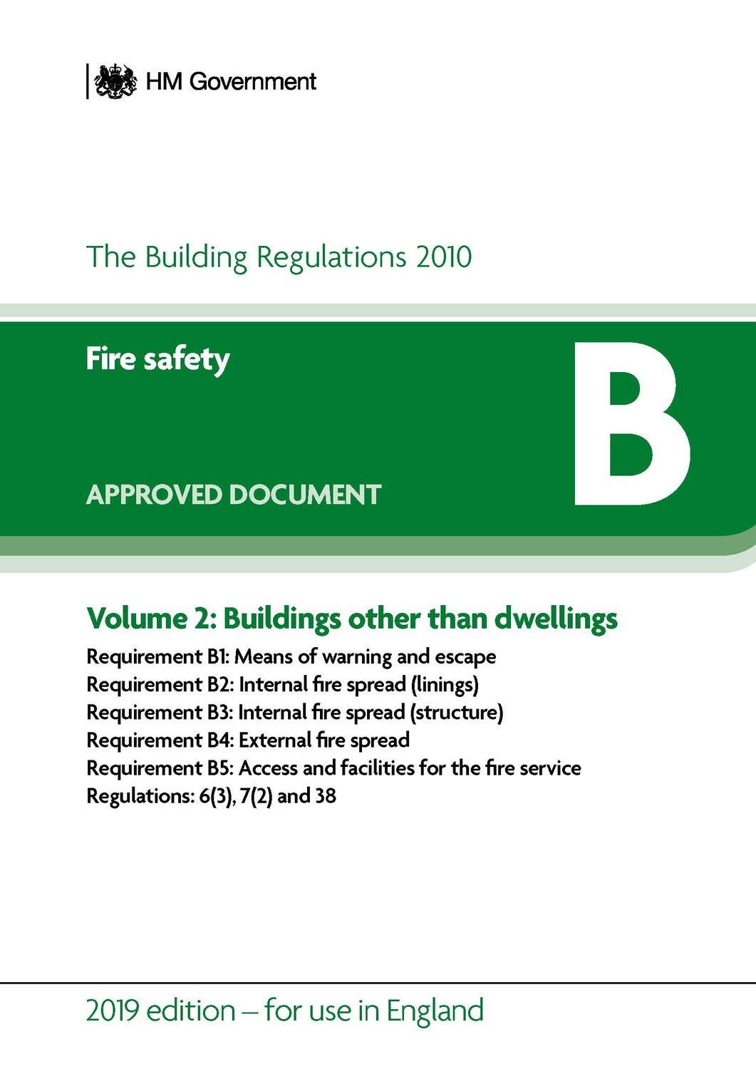 Image for Approved document B  : fire safetyVolume 2,: buildings other than dwellings