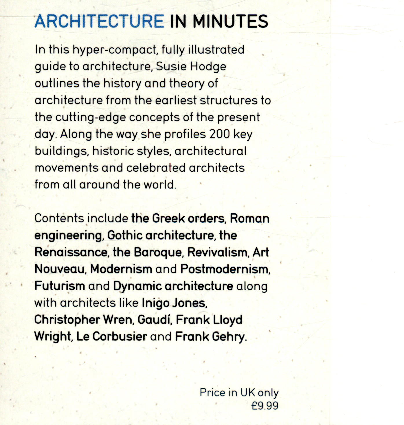 Architecture in minutes by Hodge, Susie (9781784296032